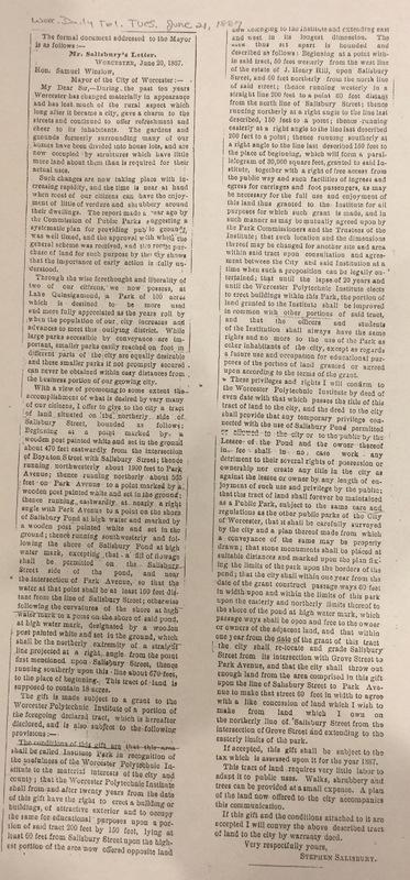Stephen Salisbury III Letter of Gift to the city, June 21, 1887