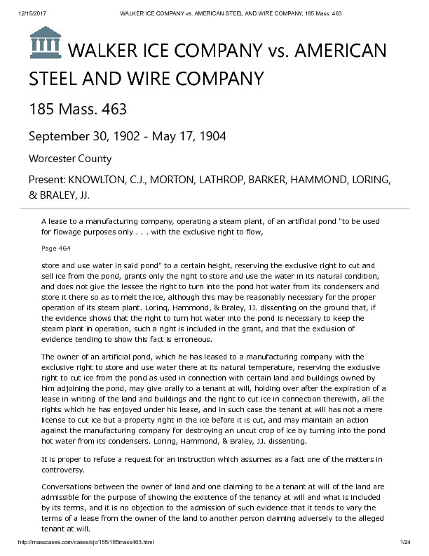 WALKER ICE COMPANY vs. AMERICAN STEEL AND WIRE COMPANY